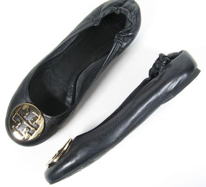 $225 TORY BURCH SHOE 7 REVA SCRUNCH BLACK LEATHER BALLET FLATS *PRIMO* SIZE 7 #ToryBurch #BalletFlats #verstatile