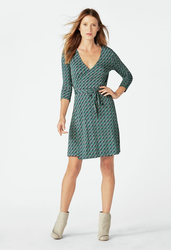 04a4805aac5 Printed Wrap Dress in alpine green multi - Get great deals at JustFab