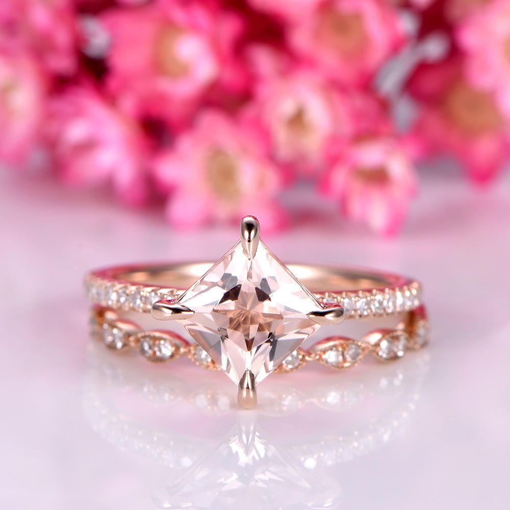 Morganite ring set princess cut morganite engagement ring 6.5mm pink ...