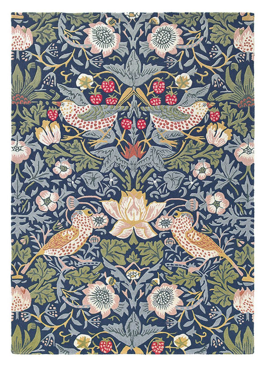 Morris & Co Strawberry Thief Indigo 27708 Blue rug, Wool