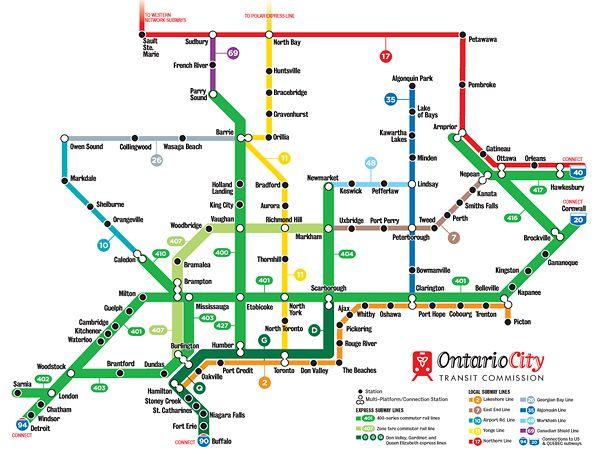 Subway Map G.Ontario City Transit Map Imagine If The Highways Were Transit Lines