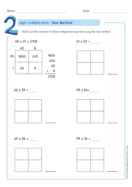 Box Method Multiplication 2 Digit Numbers Worksheets Pdf Partial Product Multiplication Box Method Multiplication Multiplication