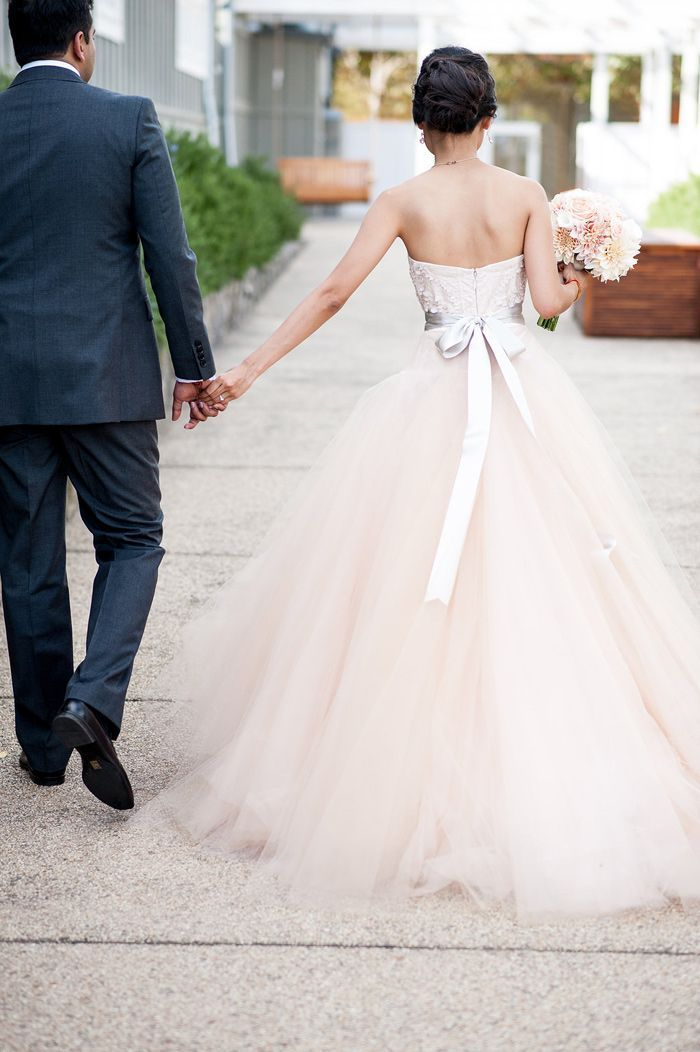 Gown by Monique Lhuillier | with blush tulle skirt | Photography by Melanie Duerkopp