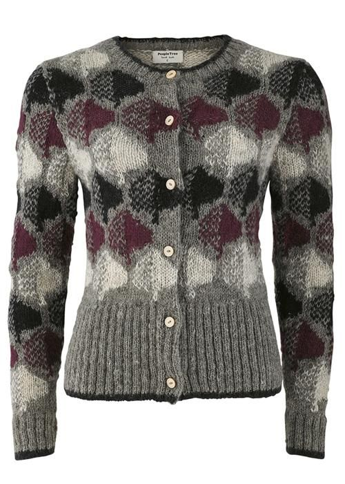 People Tree | Orla Kiely Grey Classic Cardigan. Fair trade