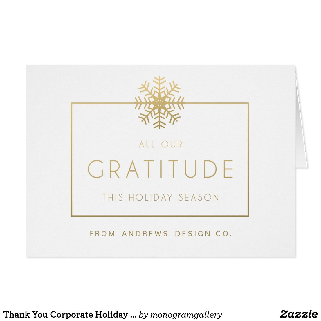 Thank You Corporate Holiday Greeting Card Zazzle Com With
