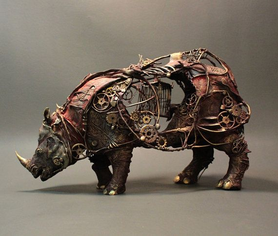 This is awesome! Mechanical Rhinoceros original OOAK sculpture by creaturesfromel on Etsy. #rhino #animal #gears