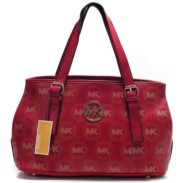 Michael Kors Logo Monogram Large Red Satchels Outlet