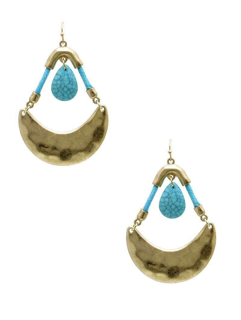 Earring Hammered Crescent Metal Natural Stone Finish Charm Faceted Teardrop Lucite Color Cord Swing Matte Finish Fish Hook 2 12 Inch Drop