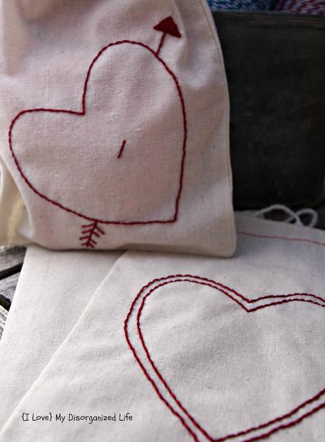 Embroidered Valentine Drawstring Bags/ {I love} My Disorganized Life #drawstringbags #valentines