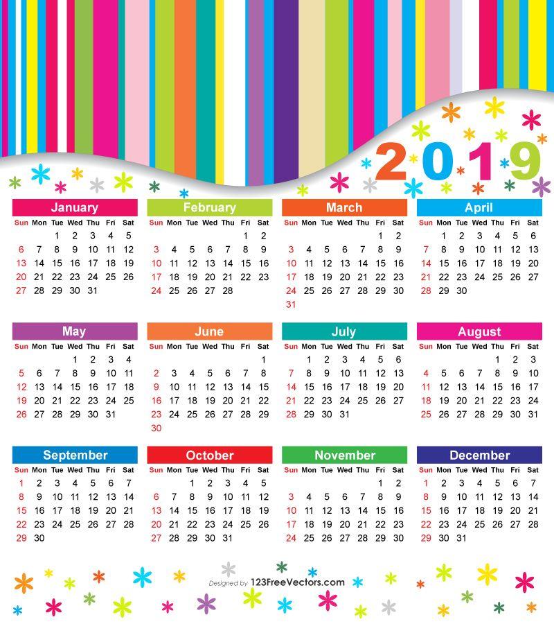 Free 2019 Colorful Calendar Warna Dapat Dicetak Pemerintah