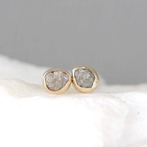 Raw Diamond Earrings 14k Yellow Bezel Style Rough Earring Uncut Conflict Free Diamonds April Birthstone