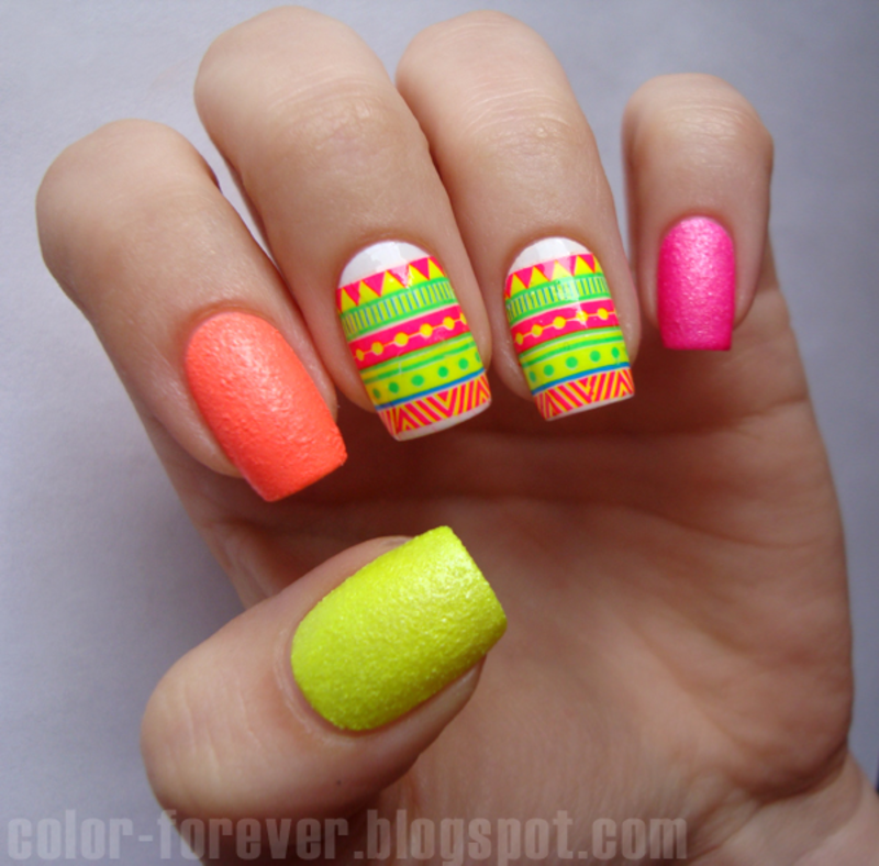 25 Cute Eye Catching Neon Nail Arts - 25 Cute Eye Catching Neon Nail Arts Neon Nail Art, Neon Nails