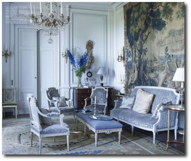 Blue Interiors Coorengel And Calvagrac Bordeaux Library Elle - French blue bedroom design