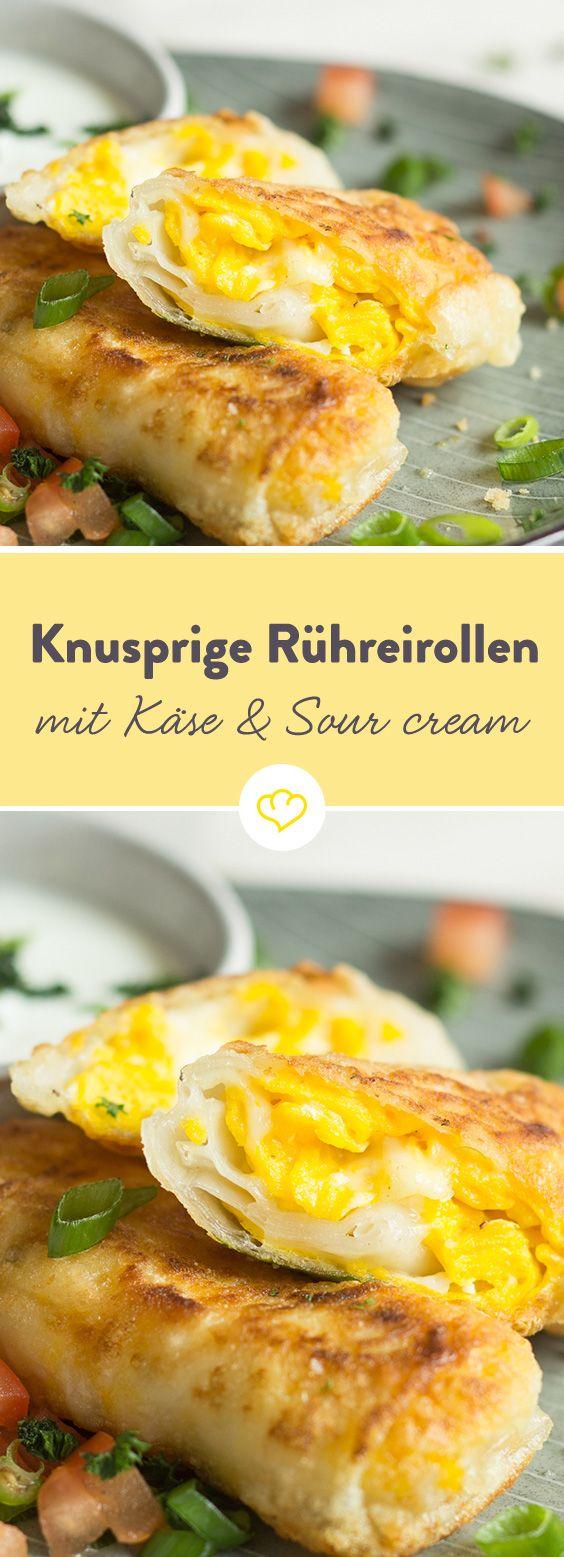 Knusprige Rühreirollen mit Käse und Sour-Cream-Dip #sourcream