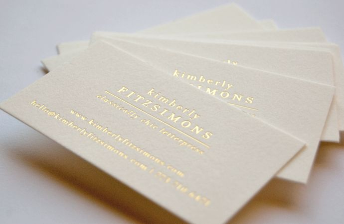 Business Cards Letterpress Gold On Cream  Business Cards