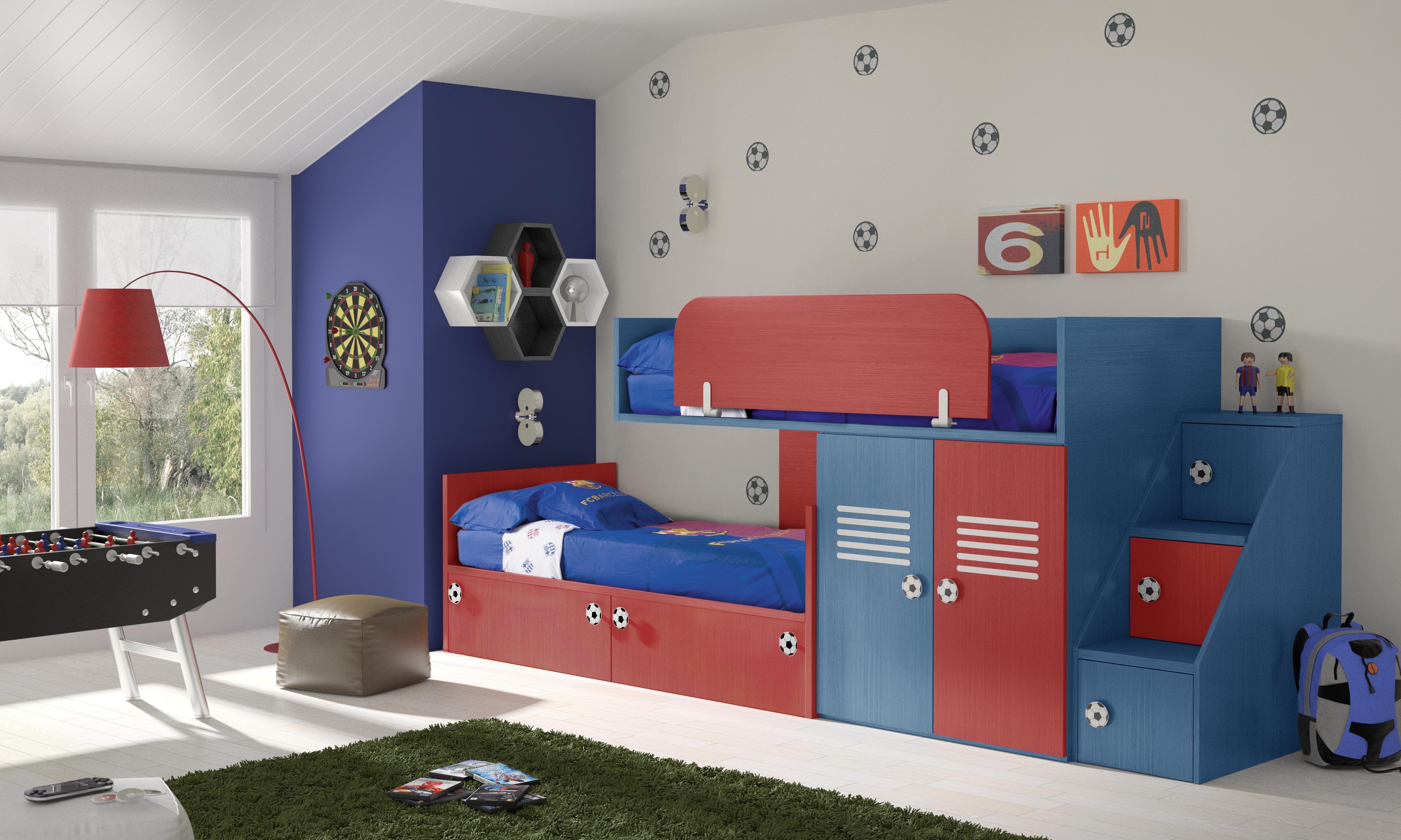 Habitaciones infantiles tem ticas f tbol 1 barcelona - Muebles habitaciones infantiles ...
