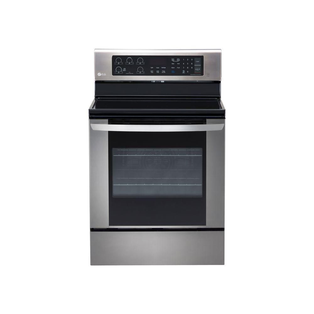 Lg Electronics 6 3 Cu Ft Electric Range With Easyclean Convection Oven In Stainless Steel Silver