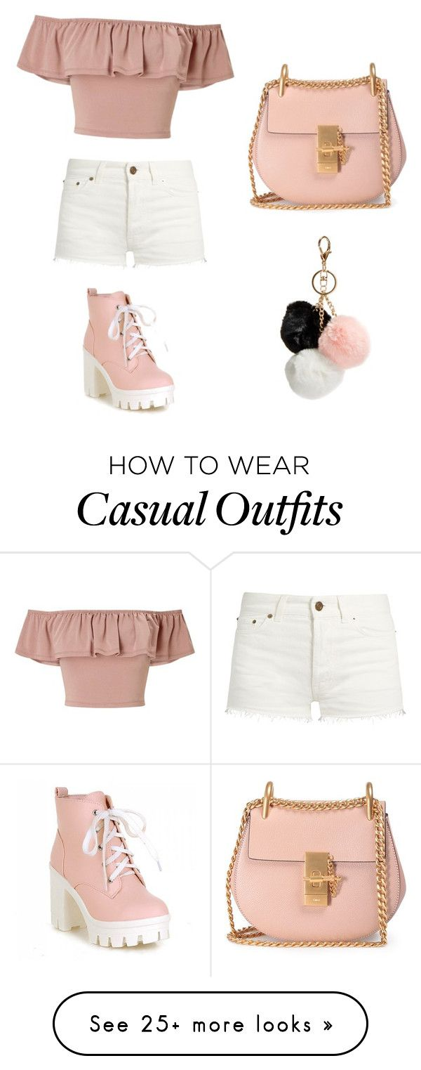 """Casual peach"" by lomaxamy on Polyvore featuring Miss Selfridge, Chloé, Yves Saint Laurent and GUESS"