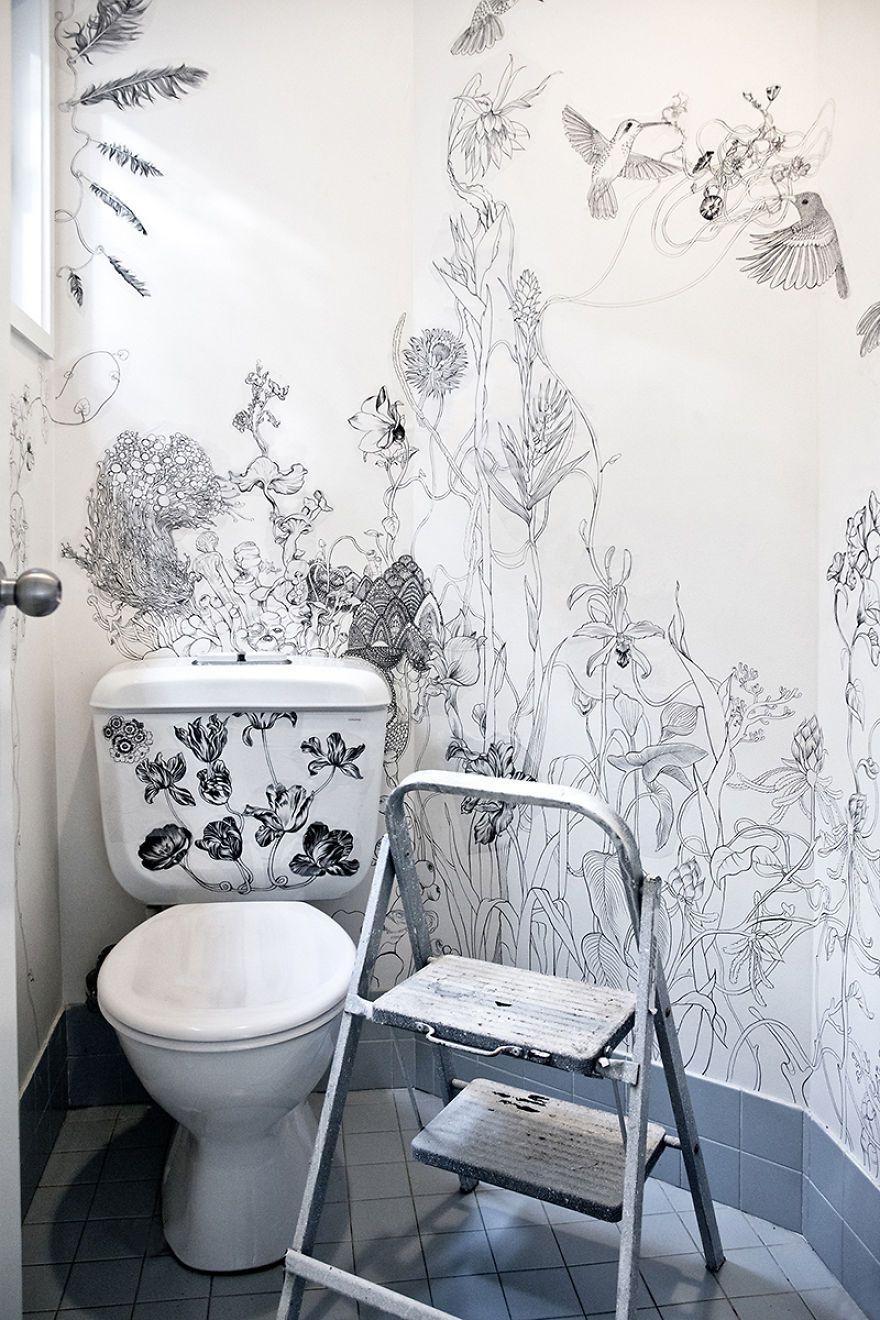 How I Turned My Boring Toilet Into A Magical Place Decor Bathroom Wall Diy Garden Decor