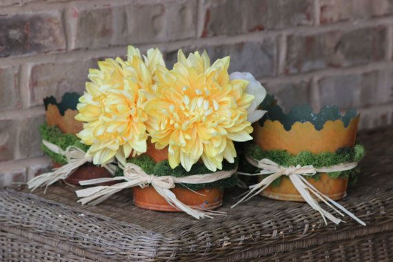 SALE  Set of 3 Rustic Moss Pots-Easter decor by LittleBitMyStyle