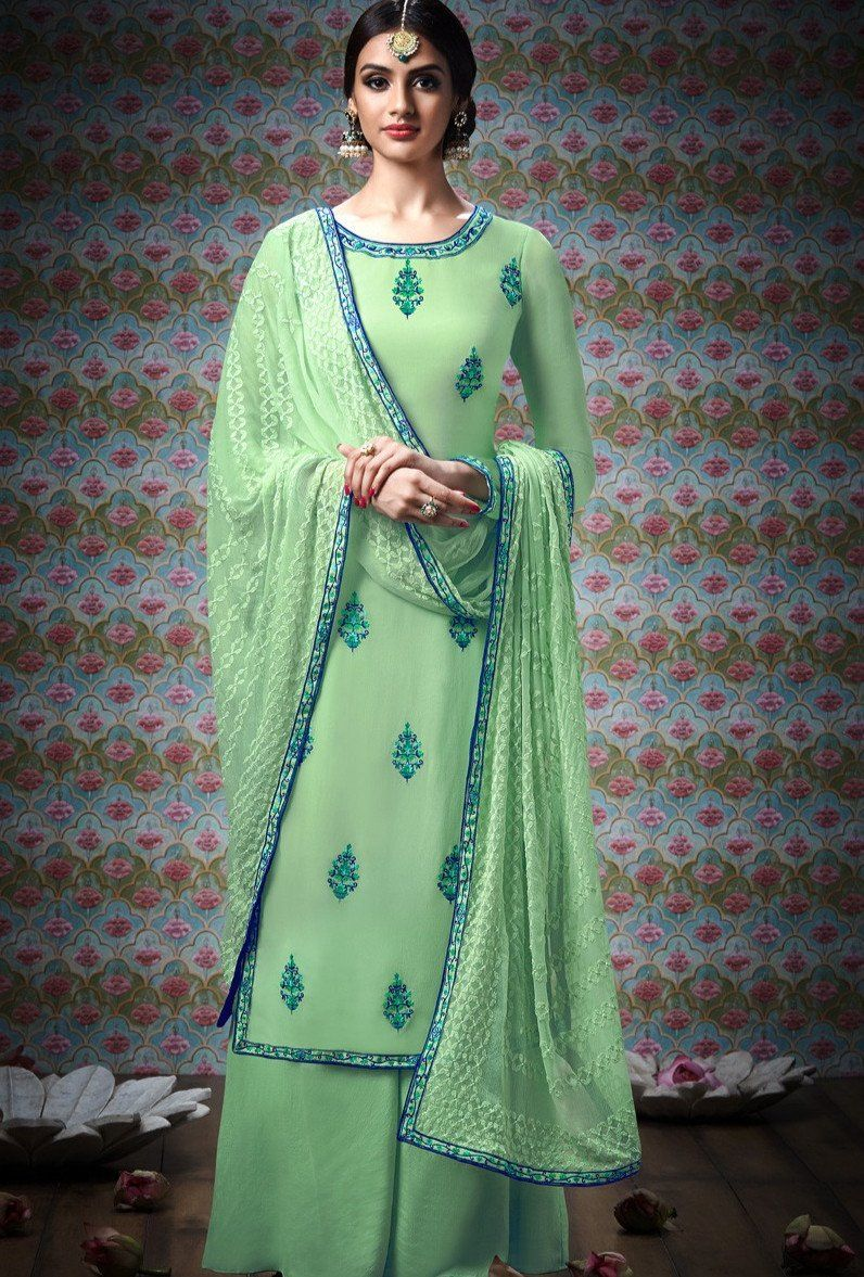 c8b6ac0b15 Pista Green Designer Party Wear Plazo Suit | design | Plazzo suits ...
