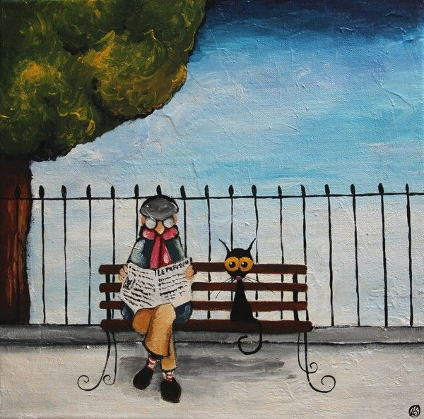 Paintings Of People Sitting On Park Bench Lucia Stewart Man From Arles Sitting On A Park Bench Whimsical Art Art Painting