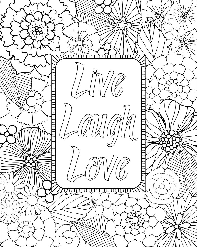 Dropbox Live Laugh Love 8x10 Jpg Love Coloring Pages Coloring Pages Inspirational Quote Coloring Pages