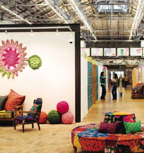 Large Motifs Decorating A Wall In The Urban Outfitters Headquarters Seen On  MAKE