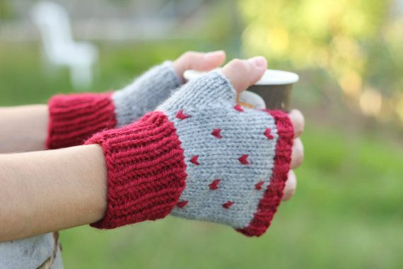 Fair isle hand knitted fingerless gloves/ polka dots by 2knit2purl ...