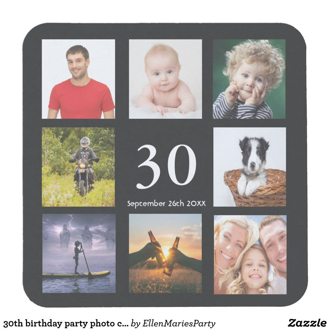 30th birthday party photo collage guy black square paper