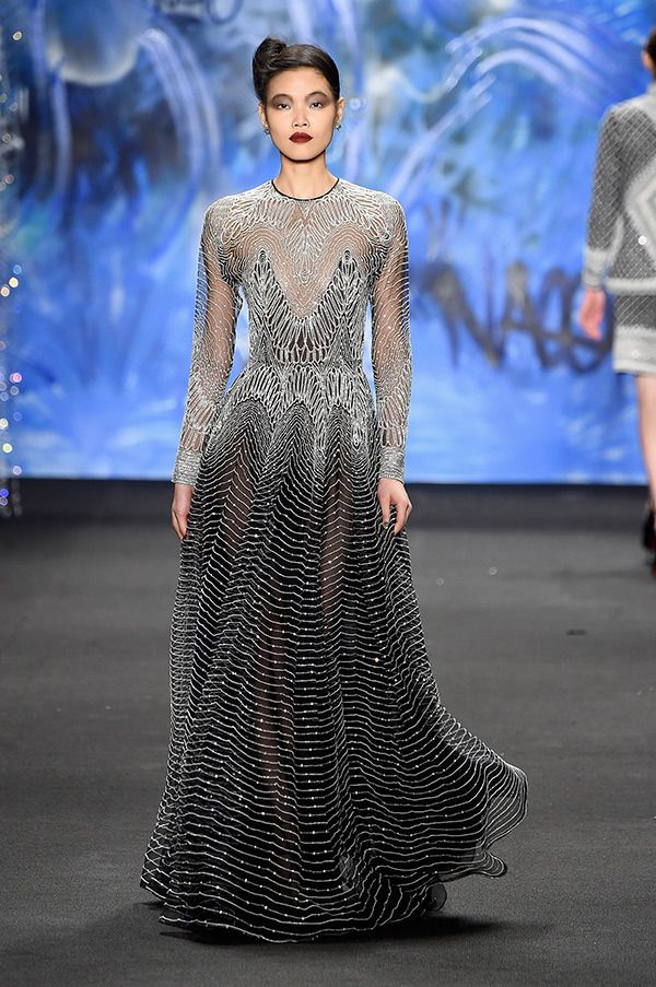 A model walks the runway at the Naeem Khan fashion show during Mercedes-Benz Fashion Week Fall 2015 at The Theatre at Lincoln Center on February 17, 2015 in New York City. (Photo by Frazer Harrison/Getty Images for Mercedes-Benz Fashion Week)