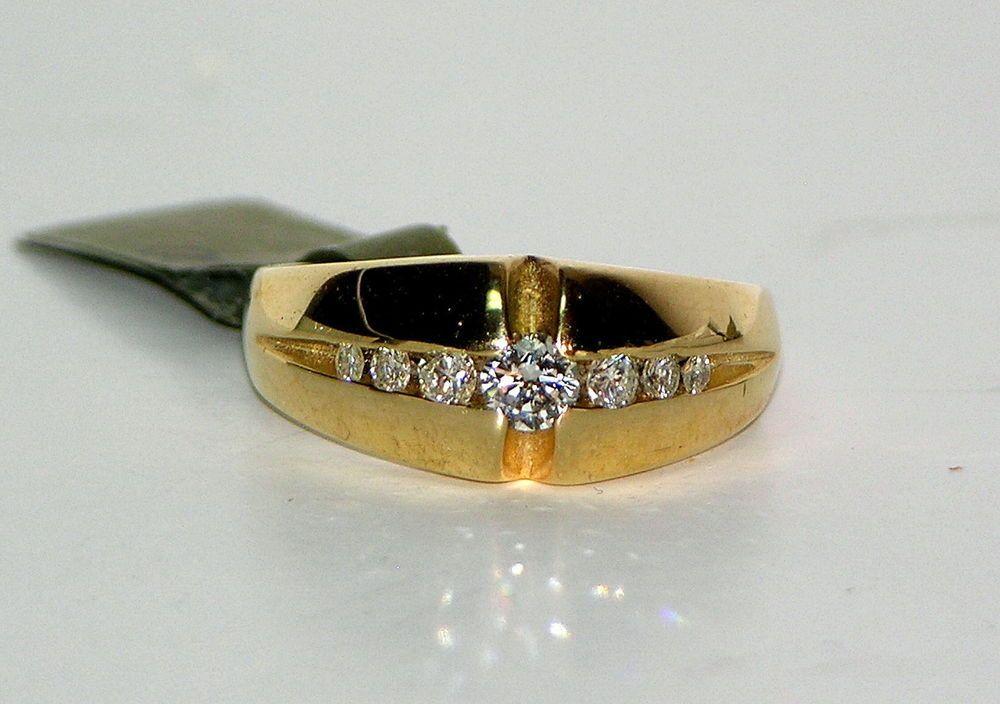 14 Karat Yellow Gold Gents Diamond Set Star-burst Ring