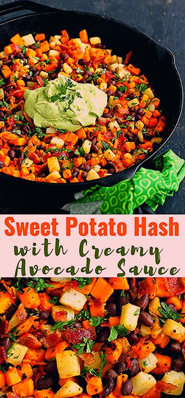 Sweet Potato Hash with Avocado Sauce - -