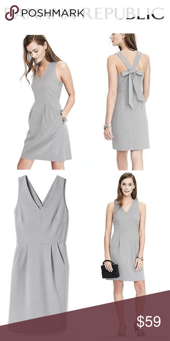 732f2b18d3a NWT Banana Republic Dress. BANANA REPUBLIC Brand New With Tags! Grey  gray  dress with back bow. Concealed Side zip. Figure flattering!