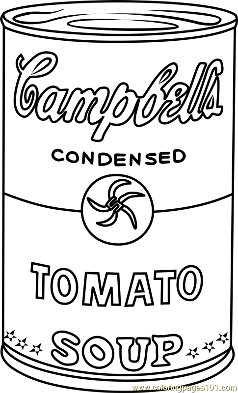 Campbell S Soup By Andy Warhol Coloring Page Andy Warhol Art Andy Warhol Soup Cans Andy Warhol Pop Art