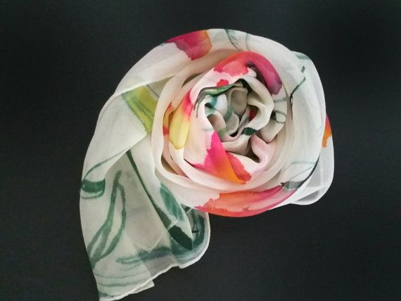 Brilliant silk scarf in red, gold, green on white.Etsy shop https://www.etsy.com/listing/243022926/handpainted-floral-silk-scarf-one-of-a