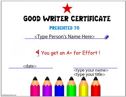Education certificates good writer award website has editable free blank certificates no registration choose from hundreds of free award templates yelopaper Image collections