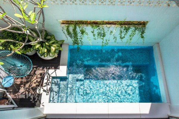 modern small outdoor living premises open courtyard pool