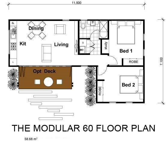 201 modular 2 Bed Option FINAL 37x24 Small house plans Pinterest