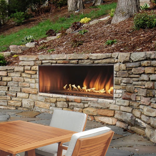 Empire Carol Rose Linear 48 Inch Outdoor Gas Fireplace Backyard