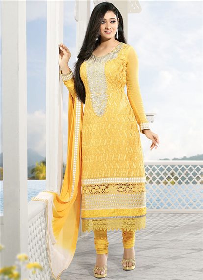 Stunning yellow Georgette churidar salwar kameez.