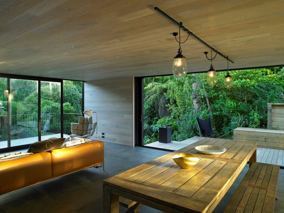 Modern Residence 106 Bold Intervention On A Provoking Steep Site Waiatarua House In New Zealand Auckland ZealandLiving Room