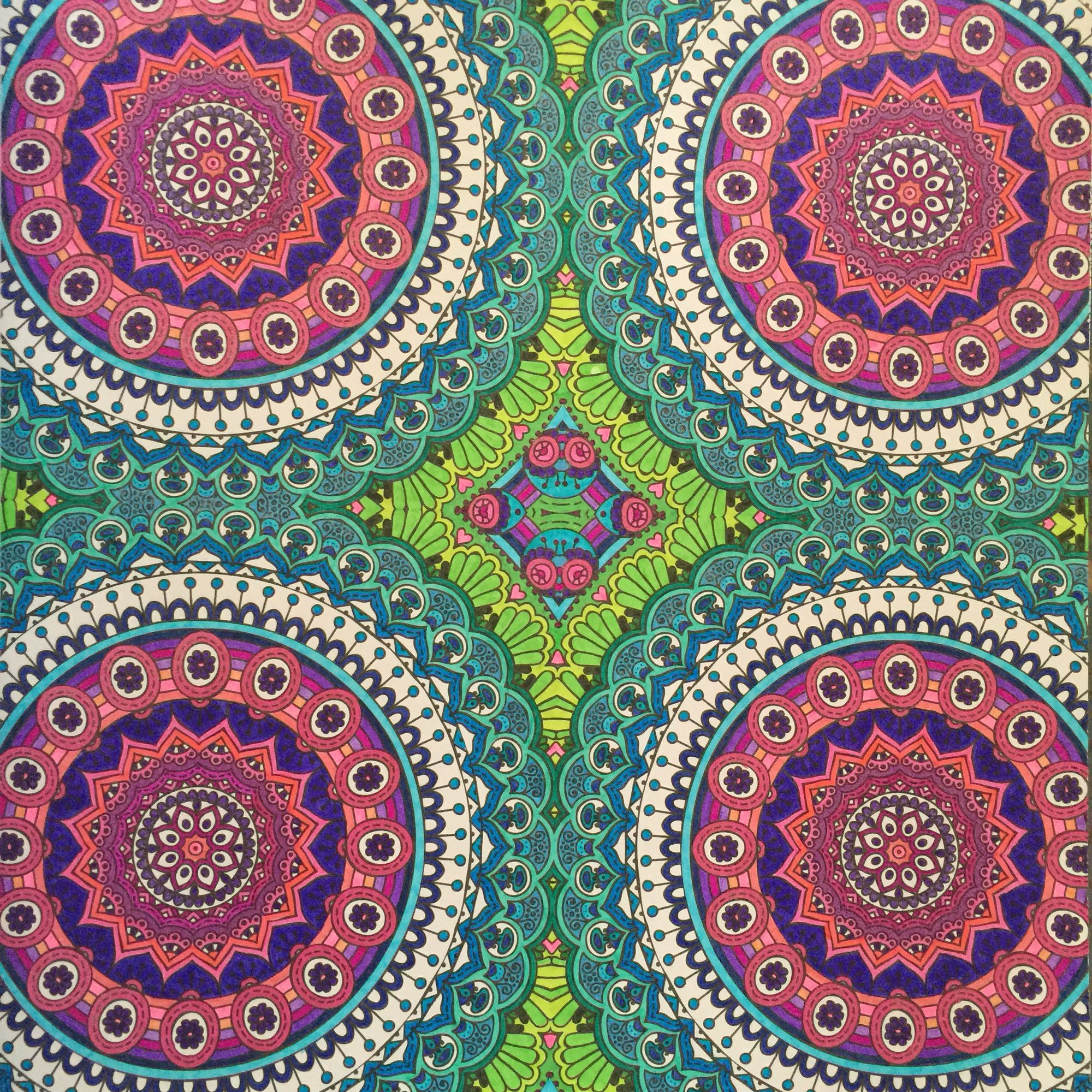 4 mandalas from Extreme Colouring Mandalas. Coloured with Stabilo ...