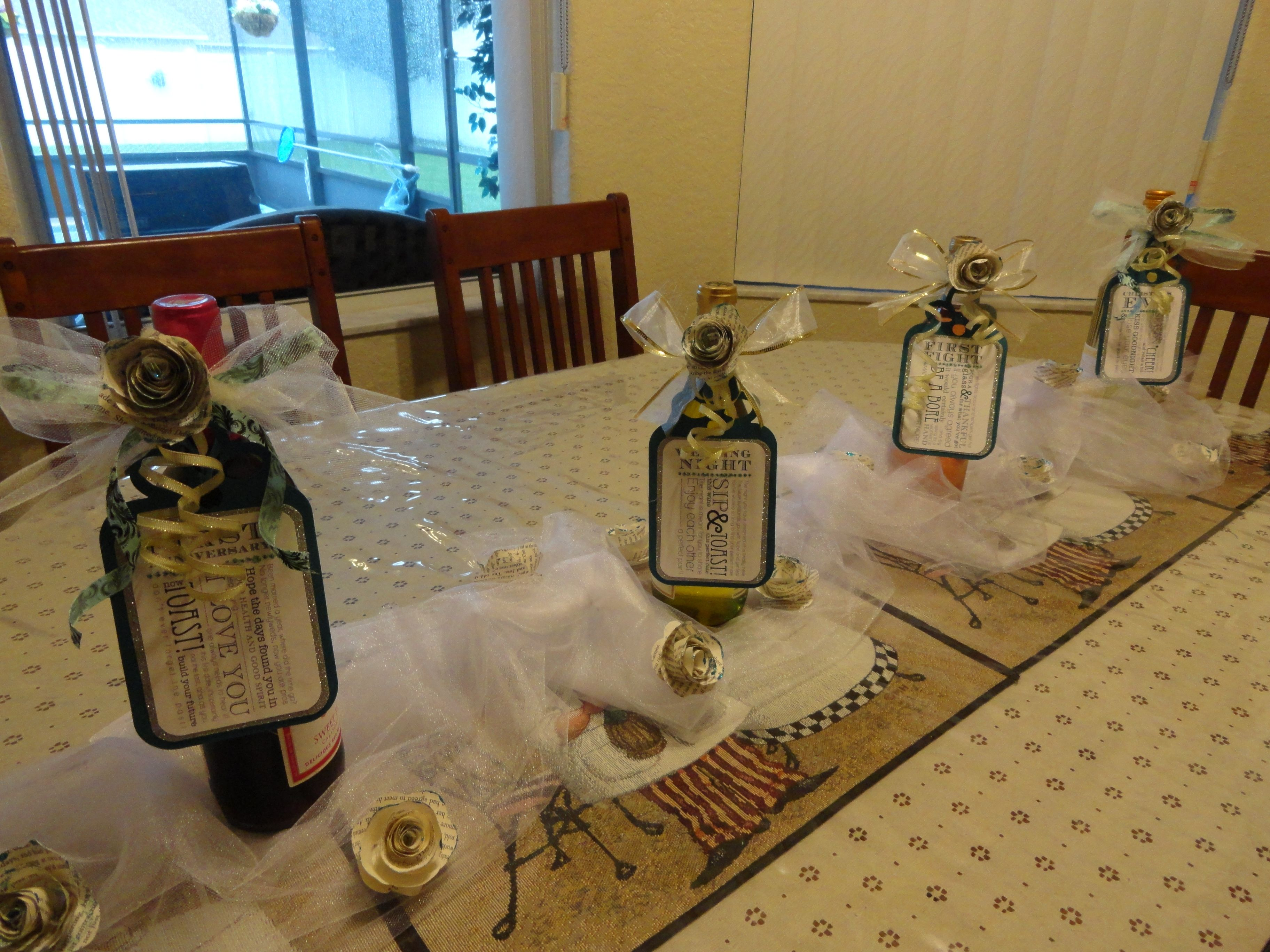 wine wedding shower gift poem%0A Bridal shower wine bottle and tag centerpiece table runner    gift and  decoration