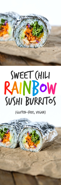 Sweet Chili Rainbow Sushi Burritos | Gluten-free, Vegan, Oil-free | The Plant Philosophy
