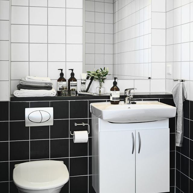 Simple Way To Freshen Up 10x10 Tiles Black And White Parts White Bathroom Tiles Kid Bathroom Decor My Scandinavian Home