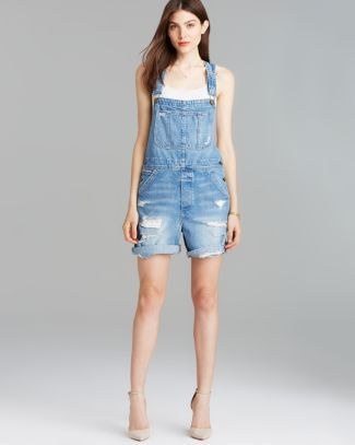 Current/Elliott Overalls - The Shortall in Tattered Destroy