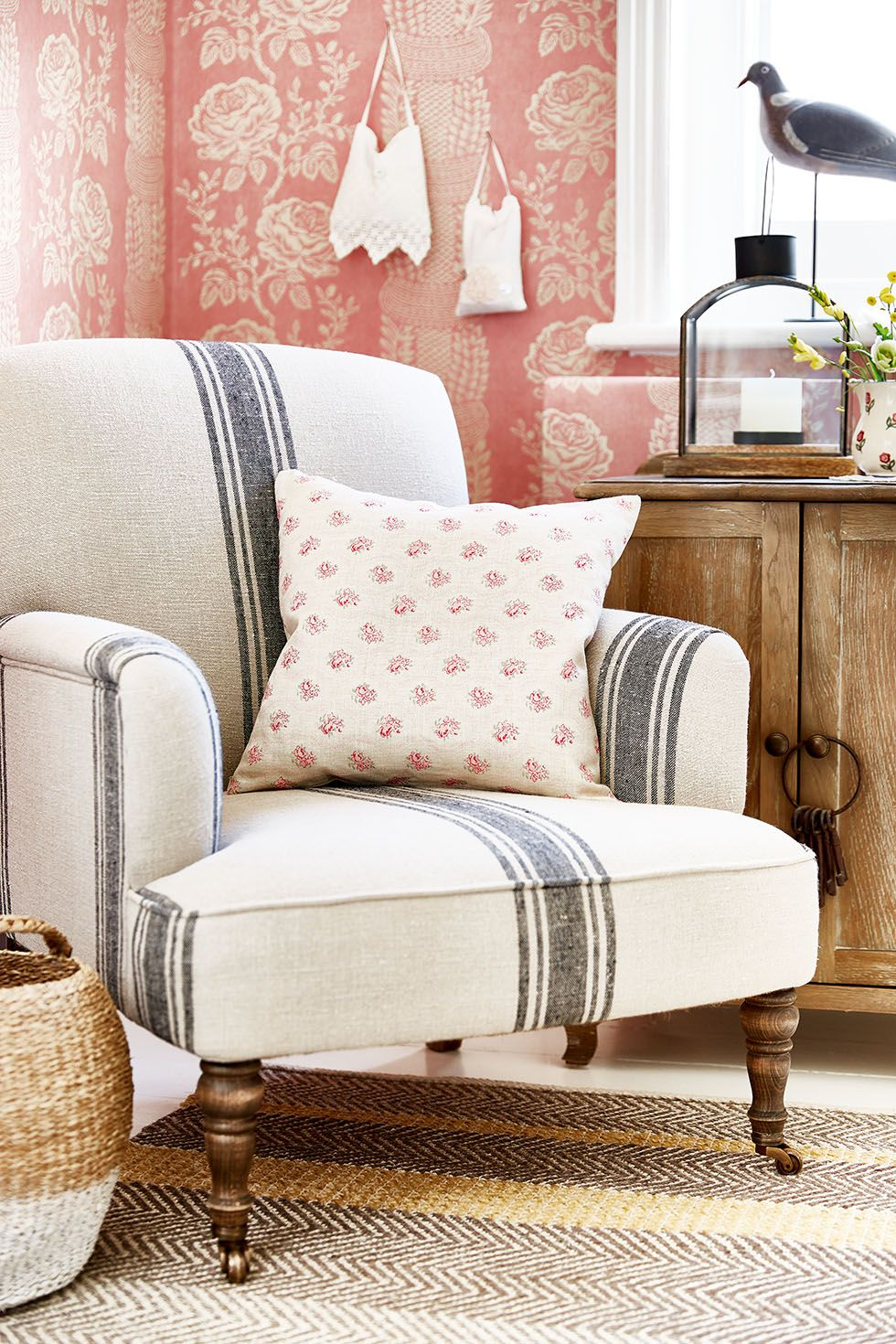 patterned chairs living room prairie chic ticking stripe chair living room 14492