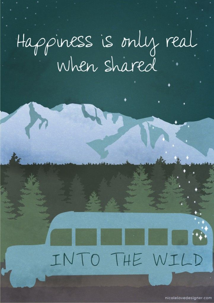 INTO THE WILD Minimalist Movie Happiness Real Quote Poster Minimal Posteritty