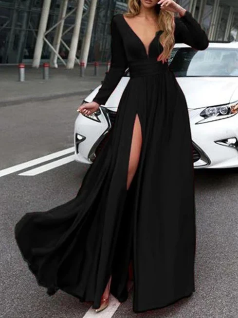 Long Sleeves Formal Dresses Prom Dresses Wedding Party Dresses with Slit LPD504